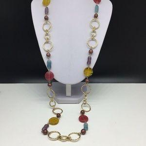 Lia Sophia Blue Pink Purple Glass Beaded Necklace